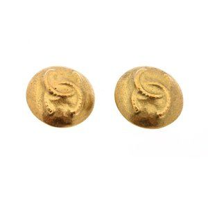 Chanel Vintage Gold CC Rope Logo Round On Earrings